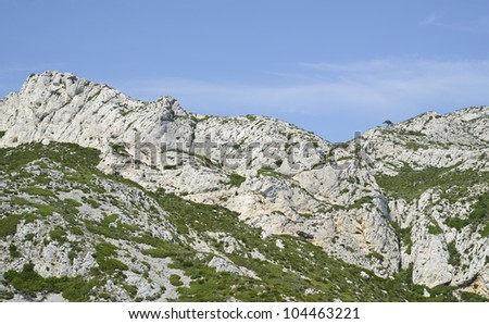 "View of the rocky landscape ""Calanques"" near ""Marseille"" in South France"