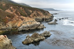 View of the rocky Pacific Coast from Garrapata State Park, California.