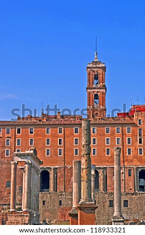 View of the Roman Forum and the Campidoglio, Rome, Italy