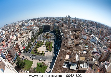 View of the roofs of Valencia, Spain, from top of the Cathedral.