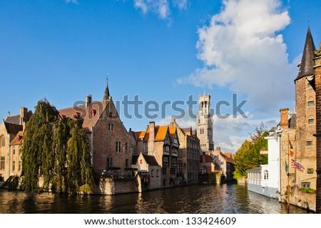 view of the Rozenhoedkaai in Bruges in Belgium