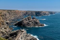 View of the rugged coastline at the Vicentine Coast Natural Park in Alentejo, Portugal