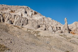 View of the rugged rocky terrain of the island of Pag, Croatia.