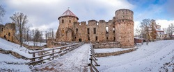 View of the ruins of the Cesis Castle. Latvia. The city of Cesis