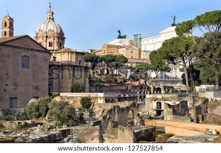 view of the ruins of the Forum Romano and the Capitol Hill, Rome, Italy, a series of tour of Rome