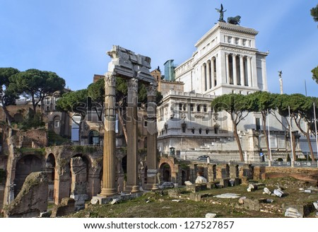 view of the ruins of the Forum Romano and the monument to the first king of united Italy Victor Emmanuel II (Vittoriano), better known as the Altar of the Fatherland, a series of Tour of Rome