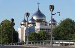 View of the Russian orthodox church Cathedrale of Saint Trinity near the Eiffel Tower in Paris, nicknamed Saint Vladimir. Paris. France.