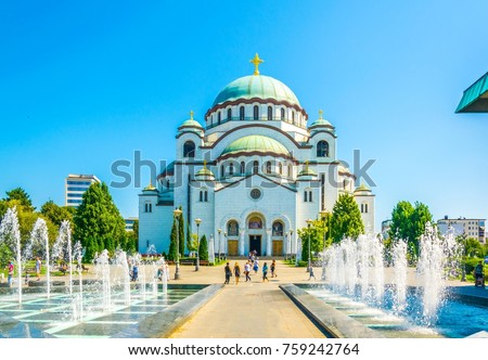 View of the saint sava cathedral in Belgrade, Serbia Stok fotoğraf ©