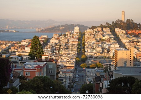 View of the San Francisco during the sunset.