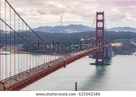 View of the San Francisco's Golden Gate Bridge from the Battery Spencer #625042586