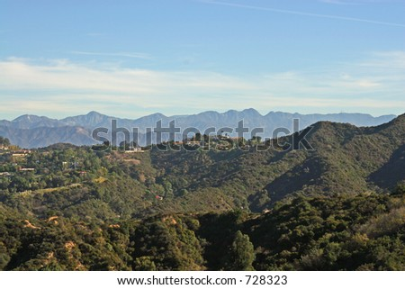 View of the San Gabriel Mountains, as seen from Bel Air, in Southern California