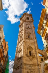View of the Santa Caterina Martir church bell tower. This construction is one of the oldest monuments of Valencia and its history goes back to the time of the Reconquest. Valencia, Spain