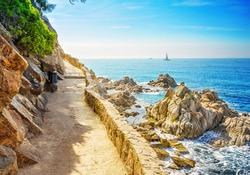 View of the sea coast in Lloret de Mar, Costa Brava, Catalonia, Spain.