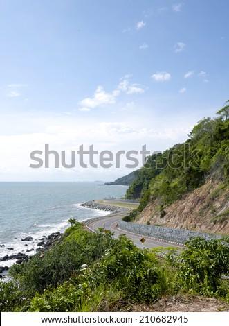 View of the Sea coastline.Road,Sea in thailand