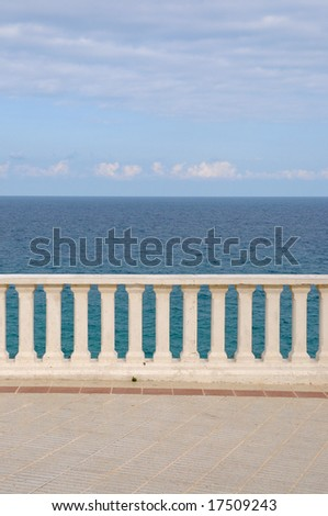 View of the sea from a hotel terrace