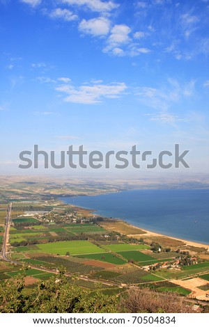 View of the sea of Galilee (Kineret lake) from Arbel mountain, Israel