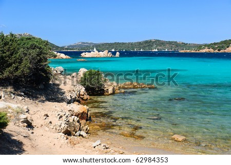 View of the sea on the island of Caprera, Sardinia