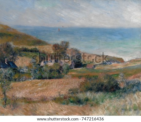 View of the Seacoast near Wargemont, by Auguste Renoir, 1880, French impressionist oil painting. This work was painted out of doors on the Normandy coast