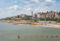 View of the seafront and beach at Southwold, Suffolk UK
