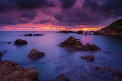 View of the seascape,Autumn with seascape,Sea, Beach, Cloud - Sky, Cloudscape, Coastal Feature,Fog, Beach, Coastal Feature, Dawn, Dusk