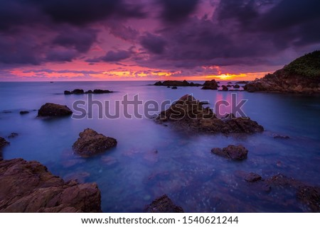 View of the seascape,Autumn with seascape,Sea, Beach, Cloud - Sky, Cloudscape, Coastal Feature,Fog, Beach, Coastal Feature, Dawn, Dusk #1540621244