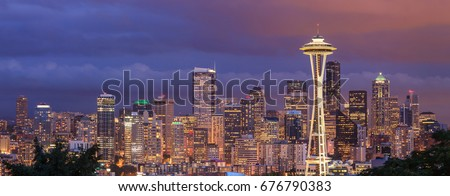 View of the Seattle city from Kerry Park, Washington #676790383