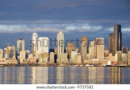 View of the Seattle skyline at sunset