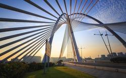 View of the Seri Wawasan Bridge located in Putrajaya Kuala Lumpur, Malaysia.