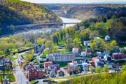 View of the Shenandoah River and Harpers Ferry from Maryland Heights, in Harpers Ferry, West Virginia.