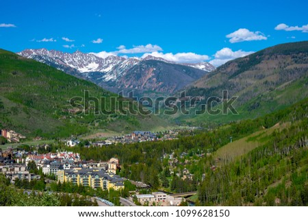 View of the ski resort town of Vail Colorado