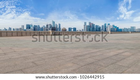 View of the skyline of Hangzhou urban architectural landscape fr #1026442915