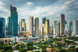 View of the skyline of Makati in Metro Manila, The Philippines.