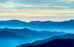 View of the Smoky Mountains from Route 441in Newfound Gap in Tennessee