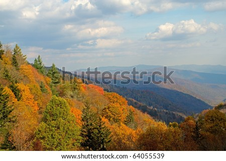 View of the Smoky Mountains in the Fall - stock photo