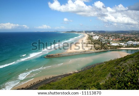 View of the Southern Gold Coast from Burleigh Hill in Australia.