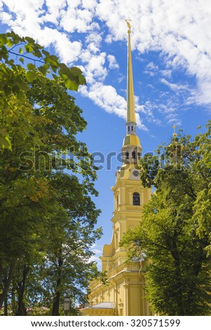 View of the spire of Peter and Paul cathedral in Peter and Paul fortress.St. Petersburg, Russia