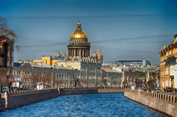 View of the St. Isaac's Cathedral, the surrounding streets, waterfront canal and houses