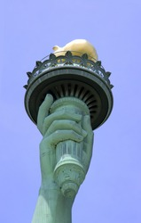 View of the Statue of Liberty's Torch on Liberty Island in New York City.