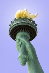 View of the Statue of Libertys Torch on Liberty Island in New York City.