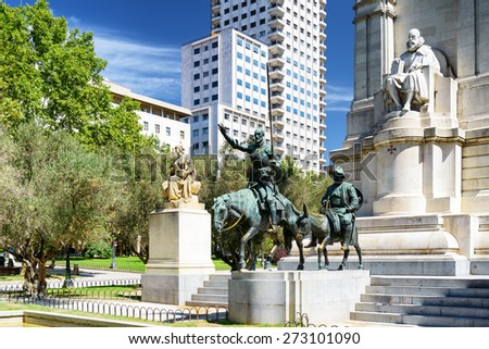 View of the stone sculpture of Miguel de Cervantes and bronze sculptures of Don Quixote and Sancho Panza on the Square of Spain Plaza de Espana Madrid is a popular tourist destination of Europe