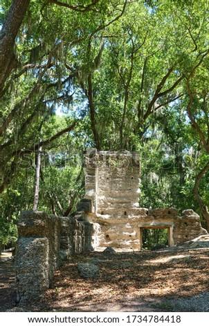 View of the Stoney-Baynard ruins at the Sea Pines Plantation in Hilton Head, South Carolina, United States. Сток-фото ©