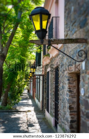 View of the street in Colonia del Sacramento in Uruguay.
