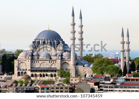 View of The Suleymaniye Camii mosque in the center of Istanbul city, Turkey