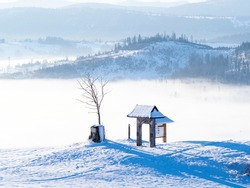 View of the summit of Ochodzita Mountain, Silesian Beskids, Poland in winter time