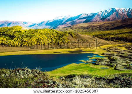 View of the Sunny mountain valley with lakes and rivers. Journey through the Altai Republic. #1025458387