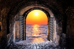 View of the sunset through the old tunnel