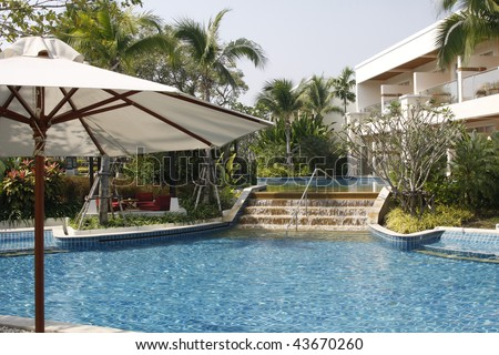 View of the swimming pool at the Sheraton hotel in Hua Hin, Thailand
