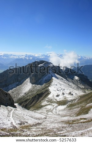 View of the Swiss Alps from the top of Mount Pilatus.
