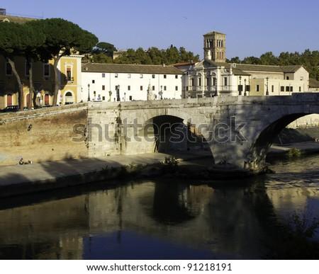 View of the Tiber Island (Isola Tiberina), Rome, Italy