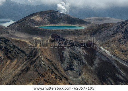 View of the Tongariro crossing from the mount Ngauruhoe, New Zealand